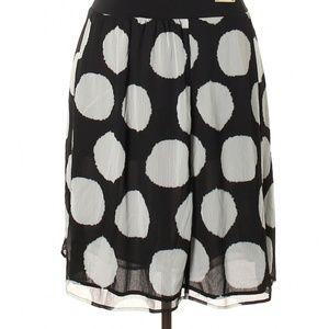 Lane Bryant Black White Polka Dot A-Line Skirt 002